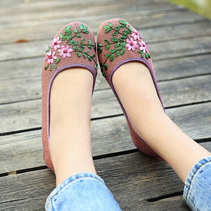 Hajink Fashion Women Flats Shoes Woman Espadrilles Ladies Slip-On Breathable Embroidered