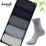HAIYYYK Bamboo Fiber Men Deodorant Crew High Quality Compression Socks 5pairs