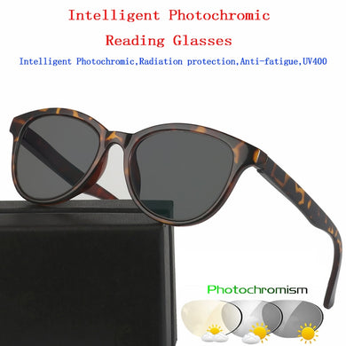 Aipo Intelligent Photochromic Reading Glasses Magnifier Vintage Unisex Cat Eye Black Leopard Print