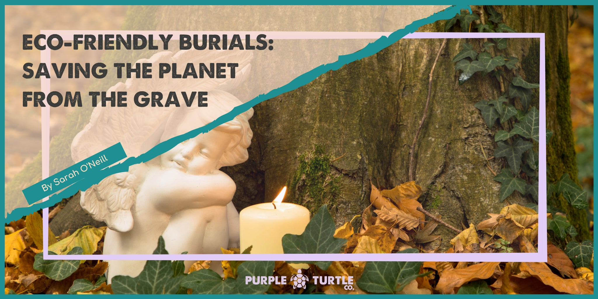 Forest floor with tree stump, angel statue and candle, framed with the name of article and the author.