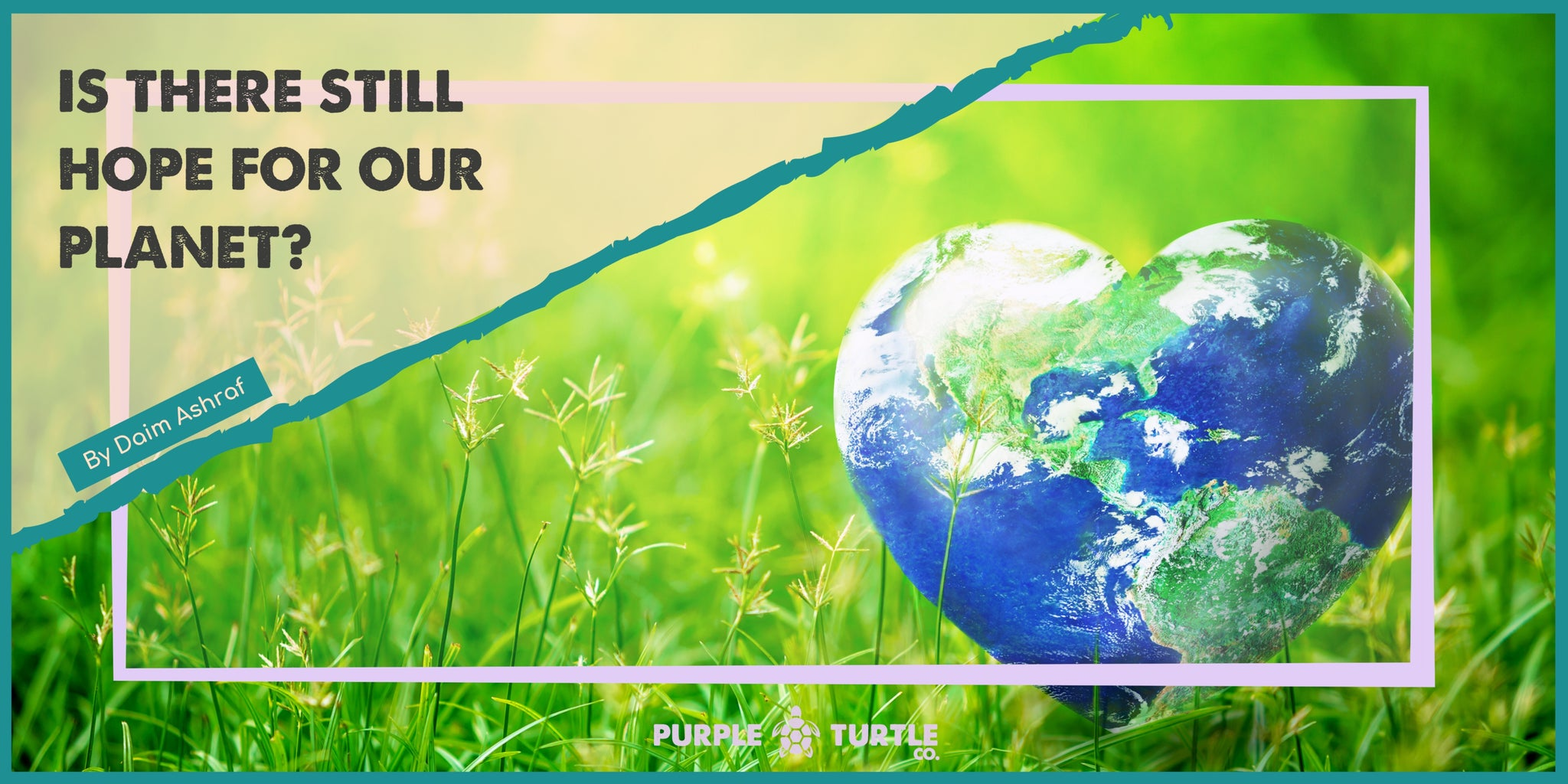 Heart shaped earth surrounded by green grass and flowers. This is framed by the Purple Turtle logo and blog author and title.