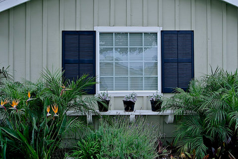 Example of passive house design: shutters across a window.