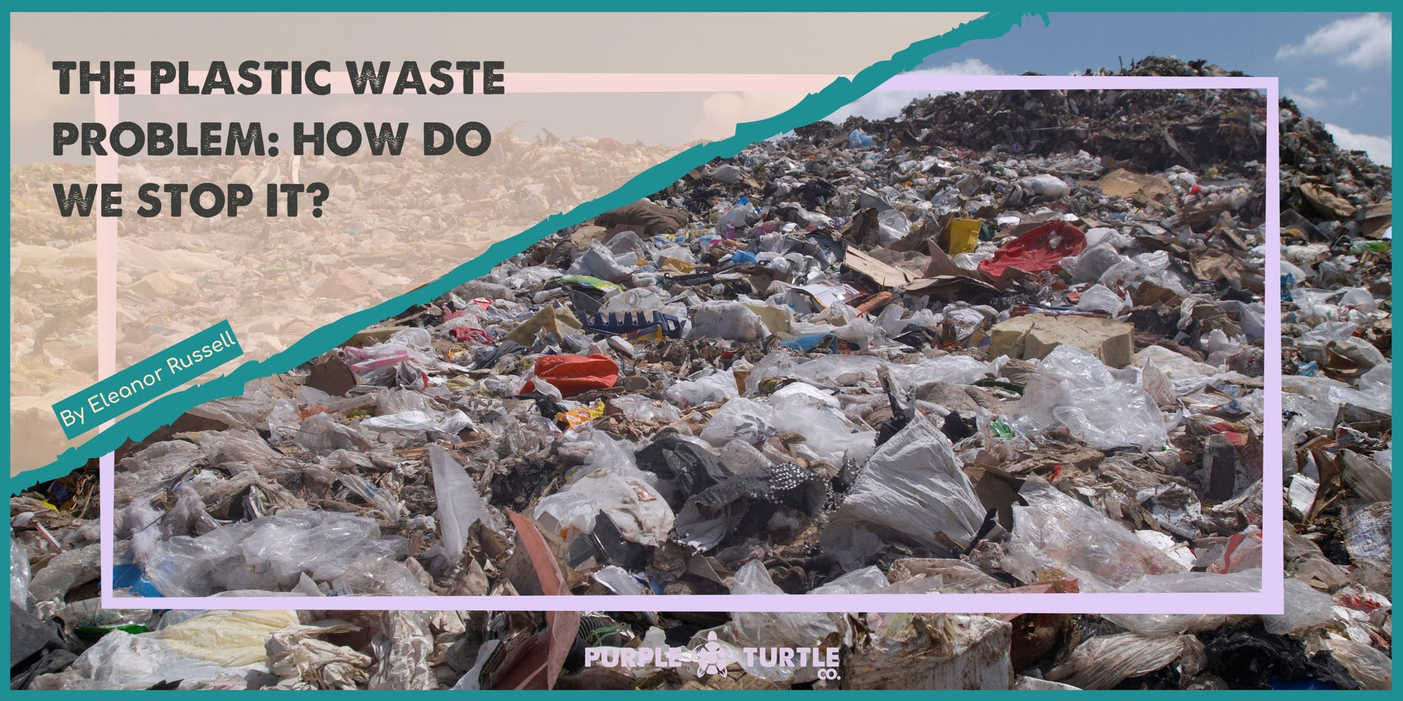 Thousands of pieces of plastic rubbish in a landfill, framed by the Purple Turtle logo, blog author and title.
