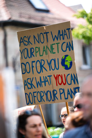 Climate change poster during protest