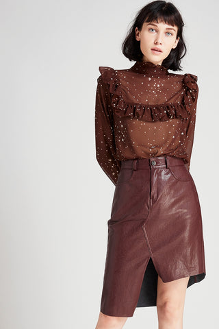 Elly Asymmetric Leather Skirt
