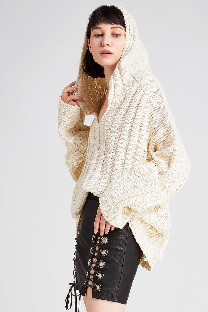 Olivia Ribbed Hoodie Knit Sweater