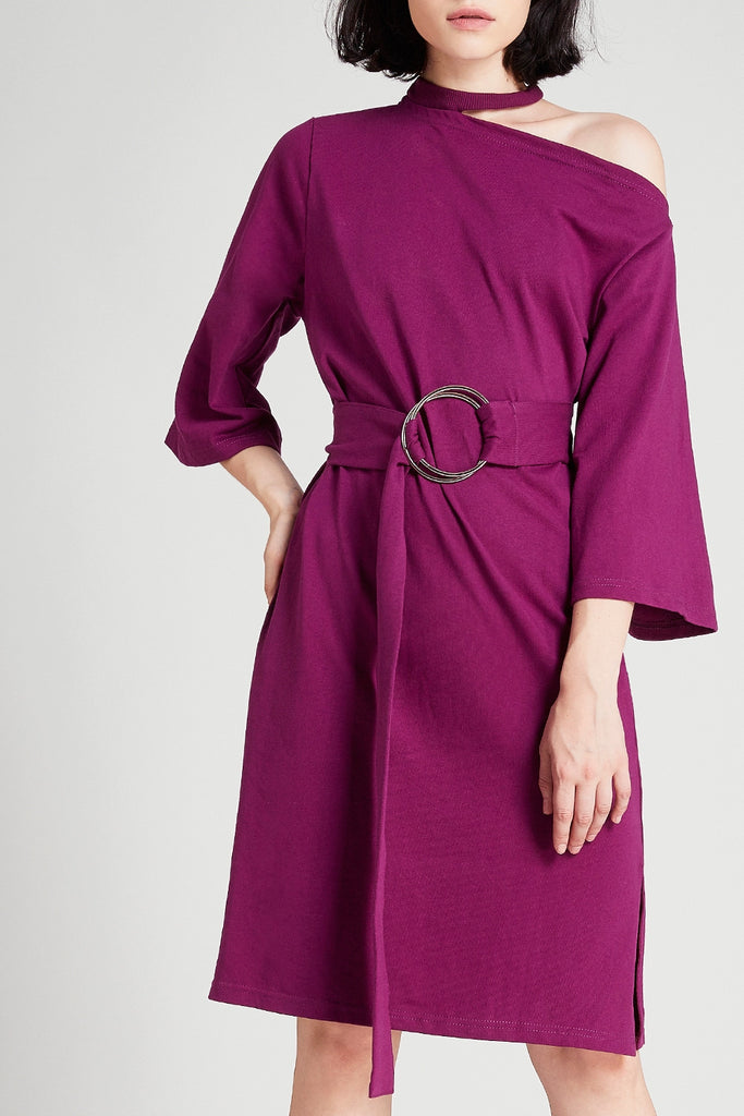 Ellen Choker Neck Belted Dress