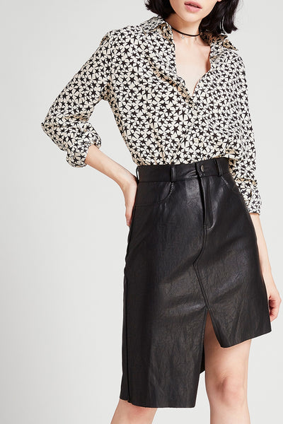 storets.com Elly Asymmetric Leather Skirt