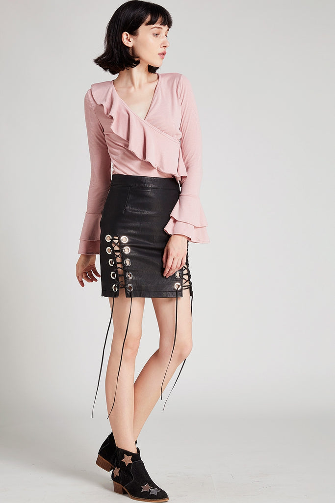 Camilla Eyelet Lace-Up Skirt
