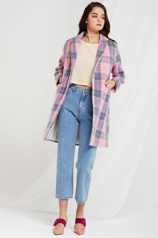 Penelope Double-breasted Plaid Coat in Candy Color-2 Colors