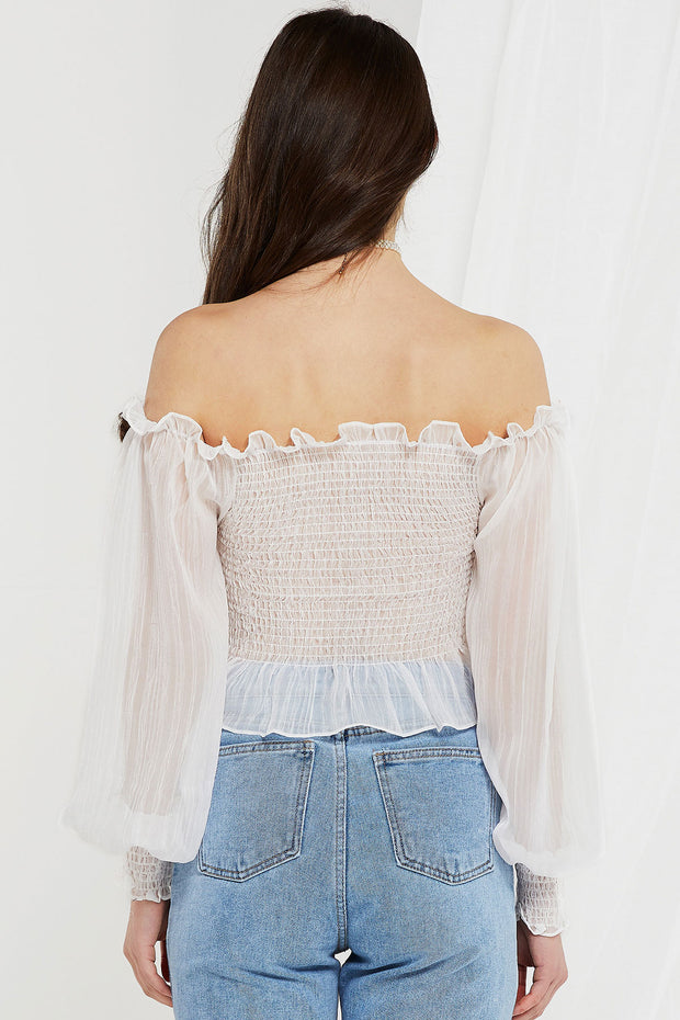 Evelyn Off Shoulder Shirred Bardot Top