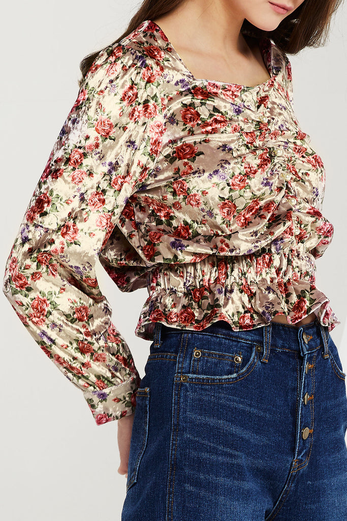 Silvia Floral Smocked Blouse (Pre-Order)