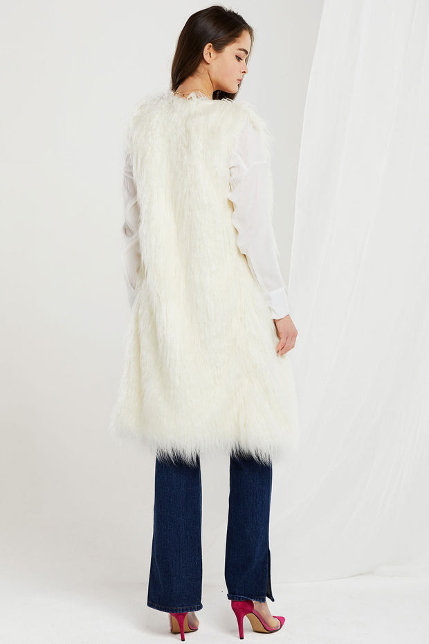 storets.com Reagan Faux Fur Long Vest-2 Colors