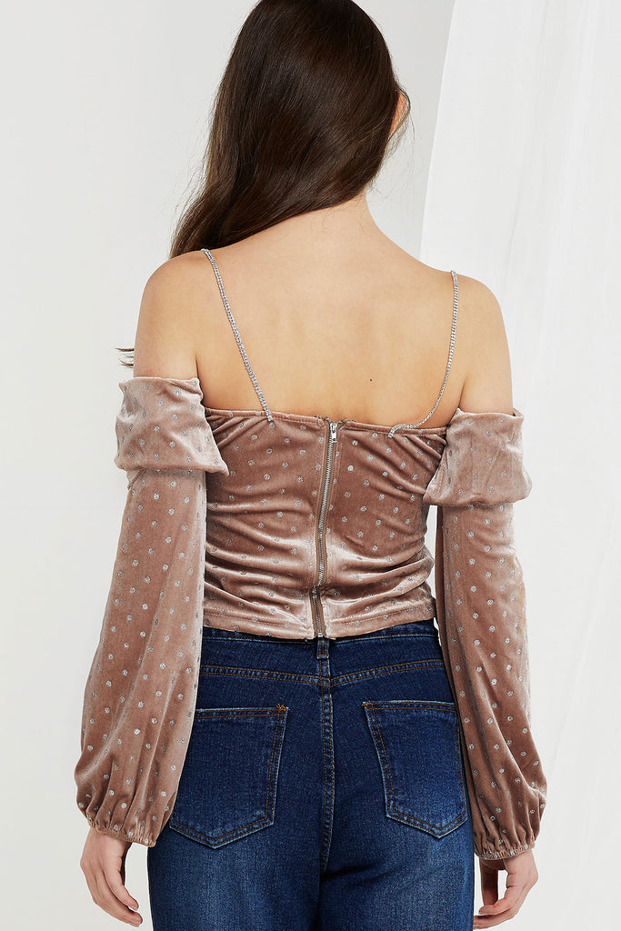 Bonnie Sparkly Long Sleeve Tube Top-2 Colors