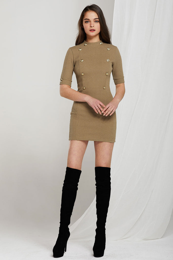 Nia Mock Neck Gold Button Dress-2 Colors (Pre-Order)
