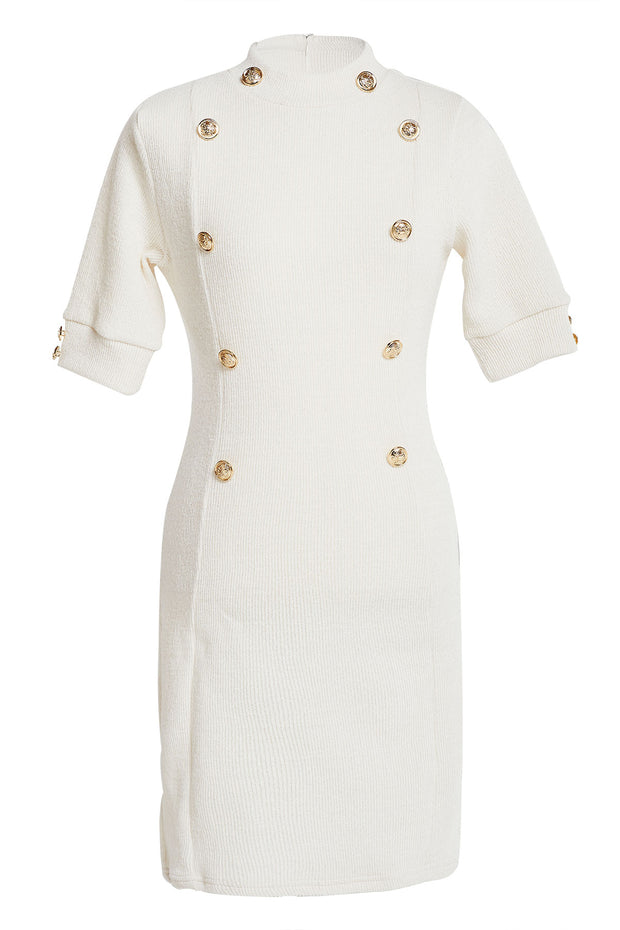 Nia Mock Neck Gold Button Dress-2 Colors