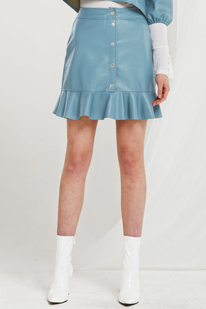 Haley Ruffle Pleather Skirt (Pre-Order)