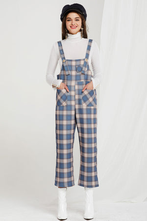 Ayla Plaid Pocket Overalls