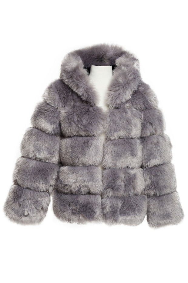 Elena Faux Fur Mink Hoodie Coat-2 Colors