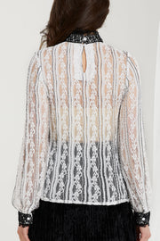 Natalie Embroidered Lace Tiered Blouse
