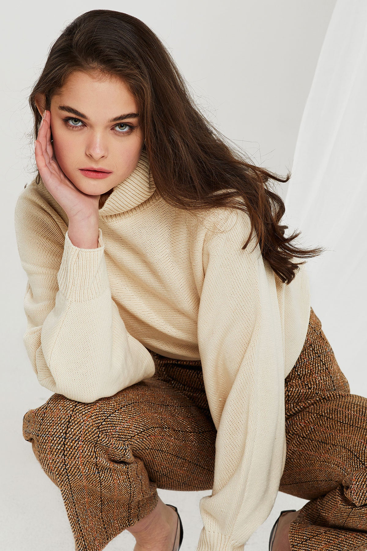 Olga Turtle Neck Crop Sweater