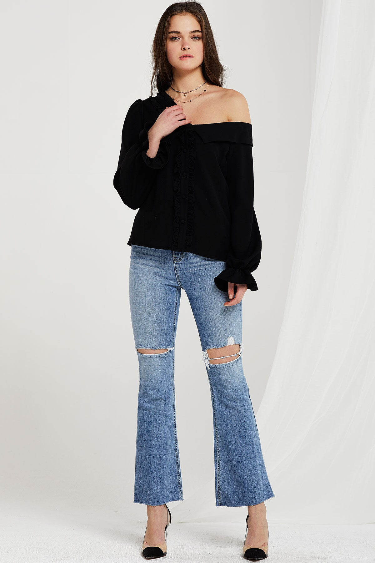 Lucca One Shoulder Blouse (Pre-Order)