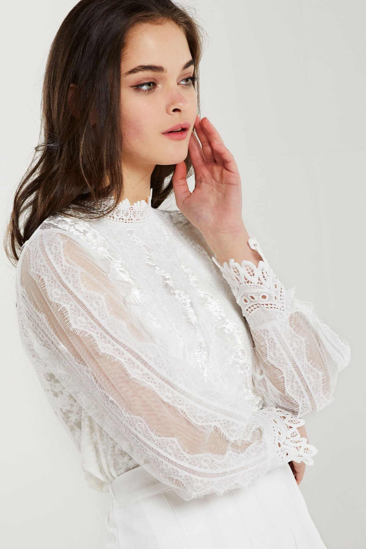 Cady Sheer Lace Paneled Blouse (Pre-Order)