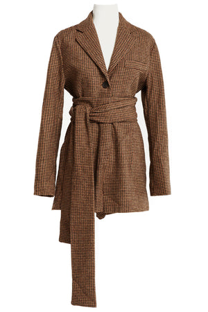 Tove Plaid Blazer Playsuit w/ Sash Belt-2 Colors (Pre-Order)