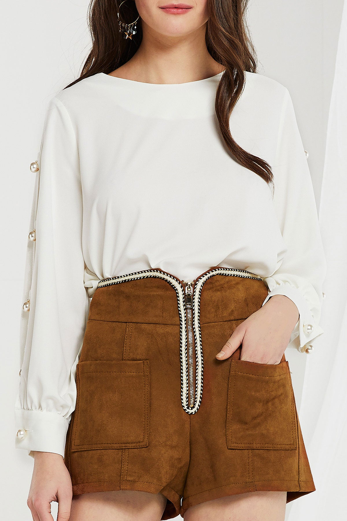 Johanna Open Sleeve Blouse w/ Pearl Button