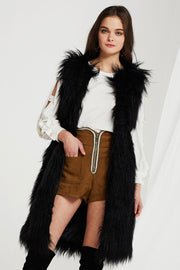 Reagan Faux Fur Long Vest-2 Colors