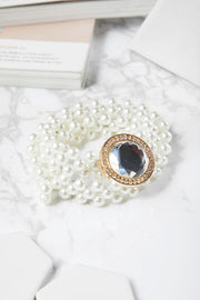 Jewel Buckle Pearl Belt