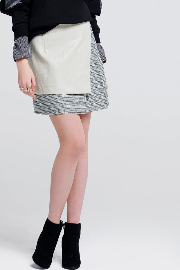 Carol Leather Overlay Skirt