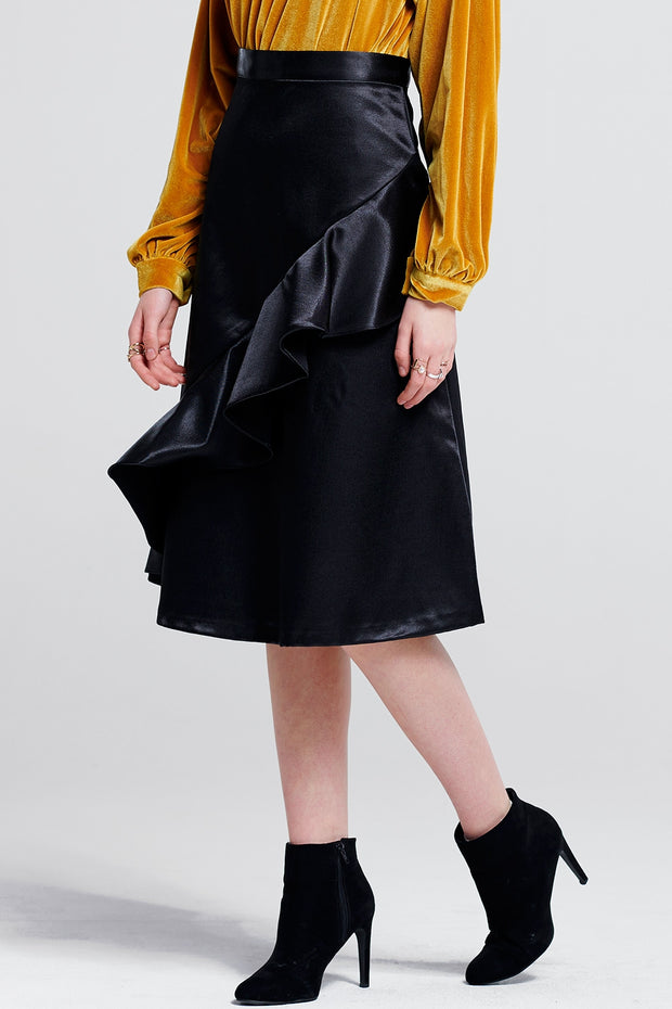 storets.com Kaley Ruffle Satin Skirt