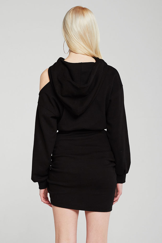 Hannah Cutout Sleeve Hooded Dress