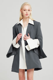 Natalie Slit-Sleeve Long Blazer