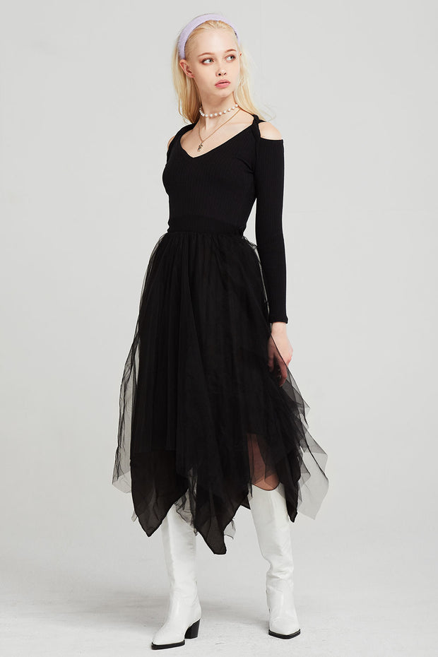 Abigail Knit Chiffon Dress