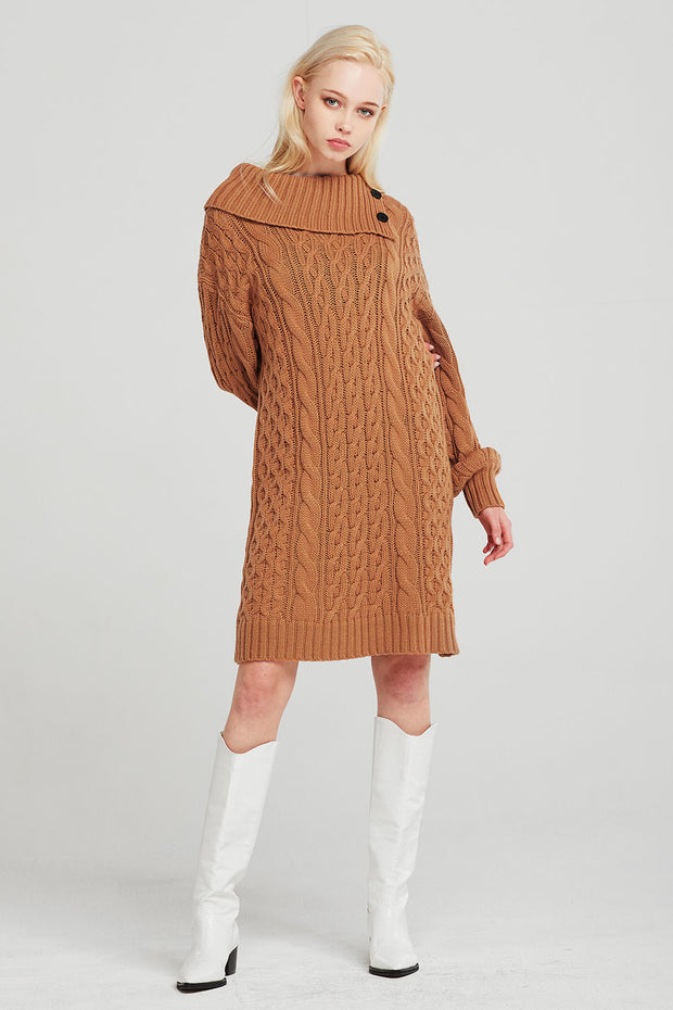 Mila Folded Collar Cable Knit Dress