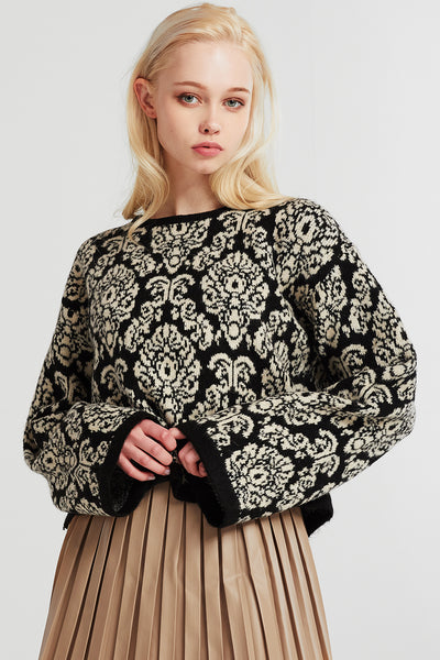 Lydia Printed Fuzzy Sweater