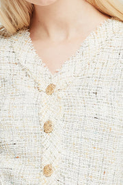 Lucy Puff Sleeve Tweed Cardigan