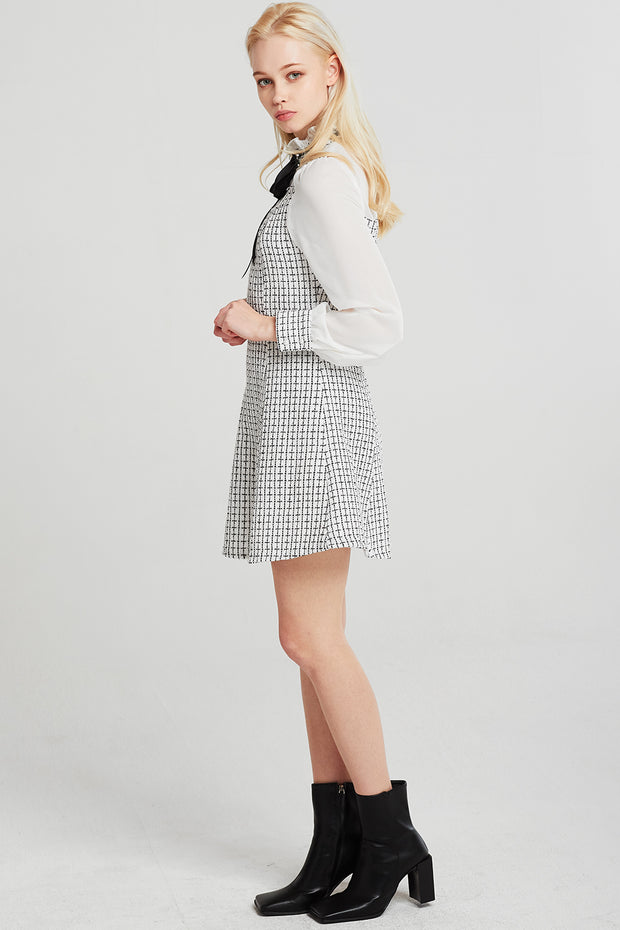 Penelope Bow Brooch Tweed Dress