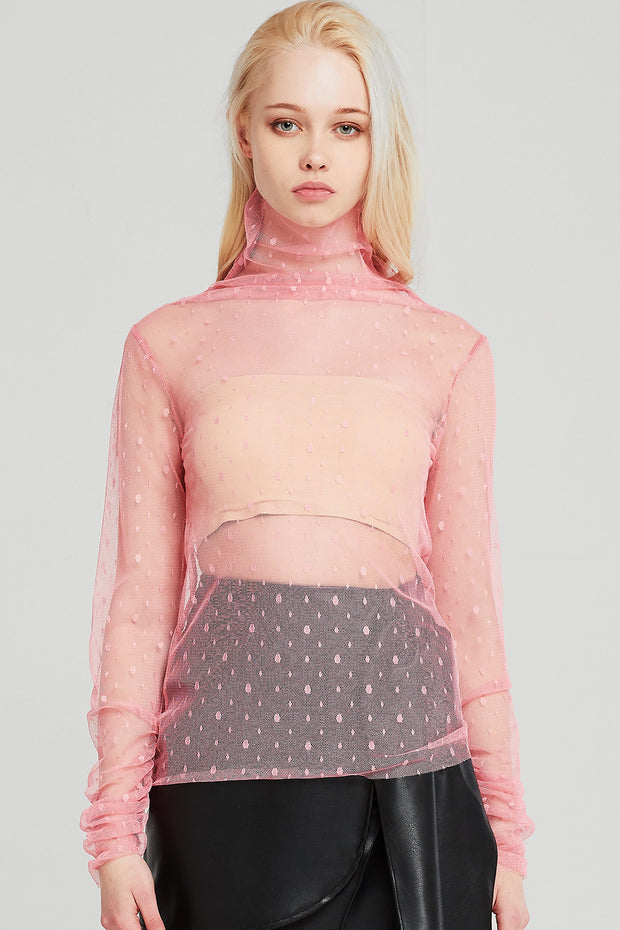 Piper Dotted Mesh Top
