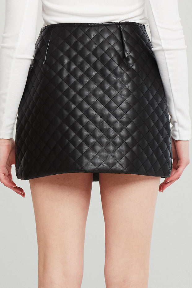 Aurora Quilted Pleather Skirt