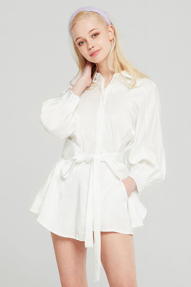 Lily Satin Shirt And Shorts Set