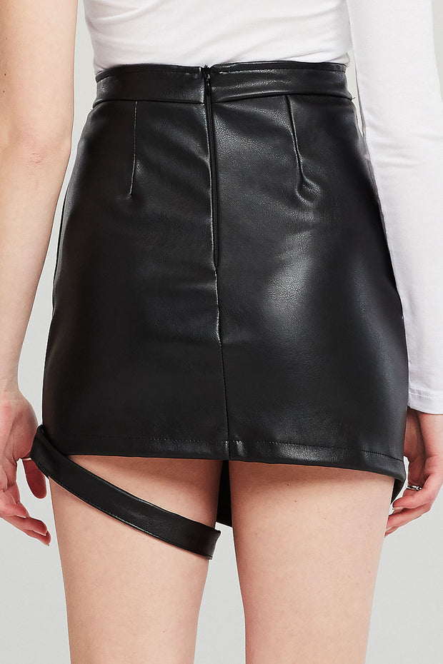 Nicole Pleather Skirt w/Garter Ring