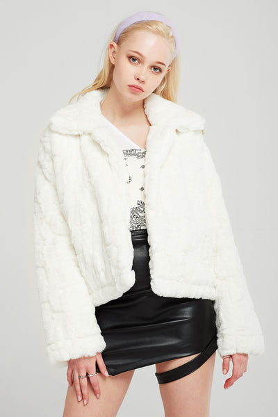 Holly Cracked Faux Fur Jacket w/Belt