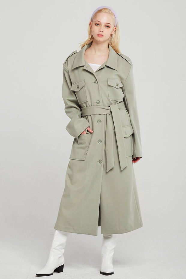 Leah Long Safari Coat w/Belt