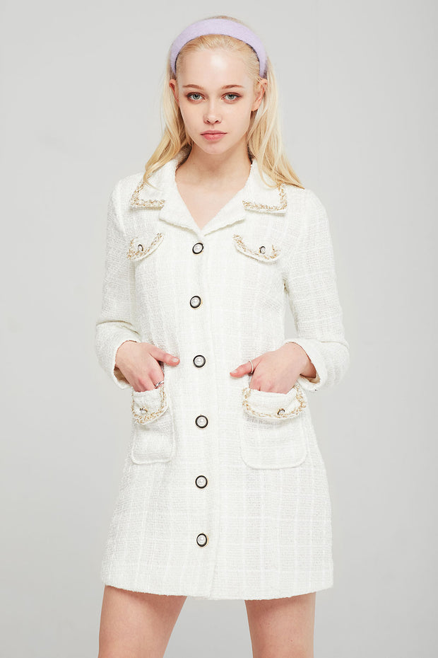 Olivia Braid Trim Tweed Dress