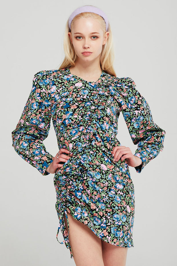 Avery Flower Garden Ruched Dress
