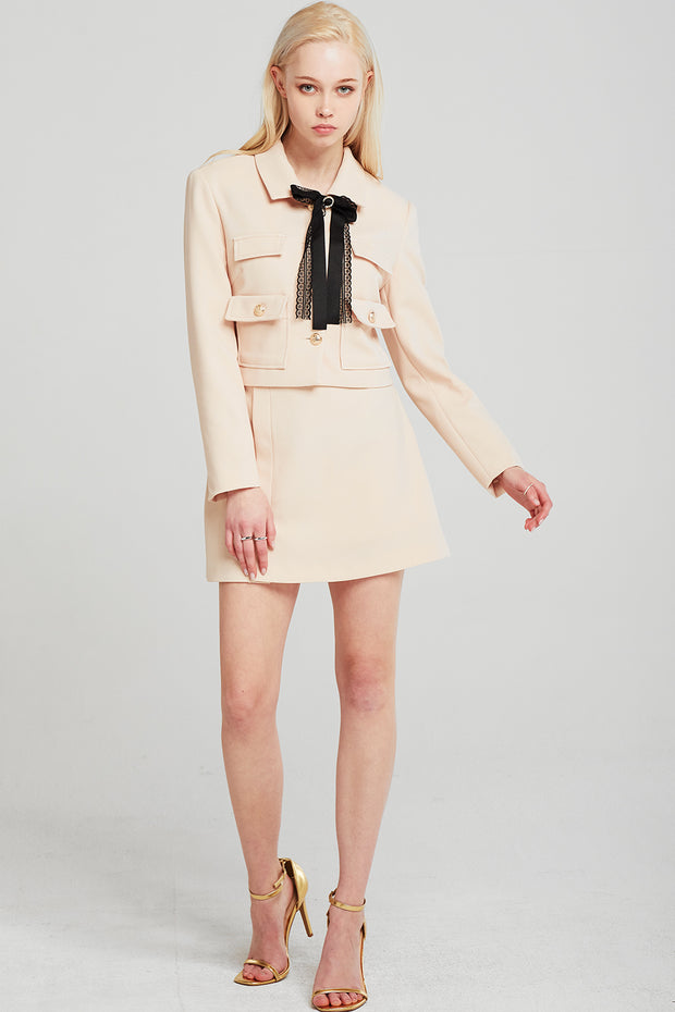 Anna Bow Tie Crop Jacket