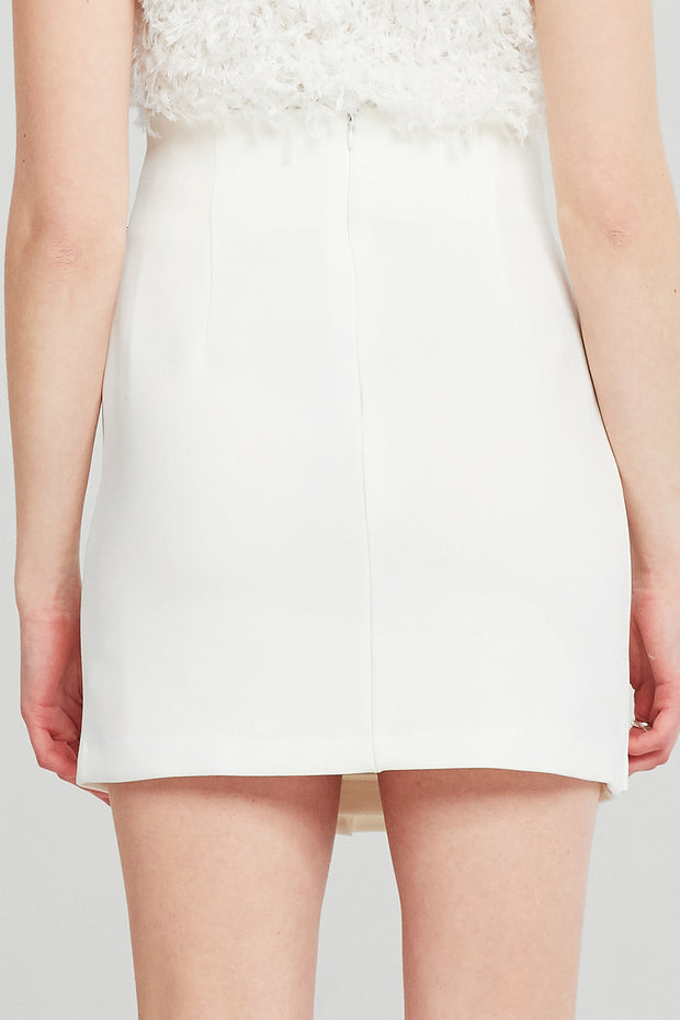 storets.com Leslie Gold Trim Button Skirt
